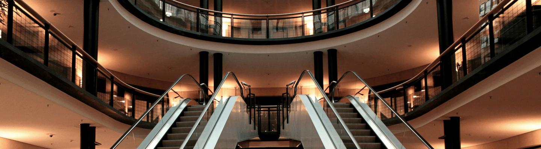 Escalators in a commercial building